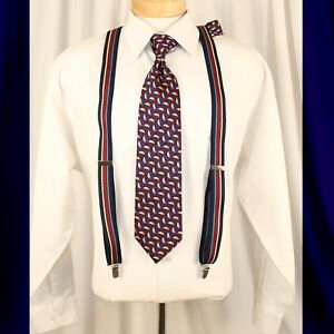 PELICAN  Multi-Color with Burgundy Blue Turquoise White Stripes Man Suspenders