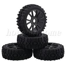 RC1:8 Buggy Black Plastic Dual 6 Spoke Wheel Rims 4P Rhombus Pattern Rubber Tire