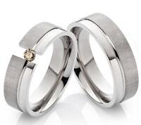2 Eheringe Trauringe mit echtem Diamant Verlobungsringe aus Titan TLB27