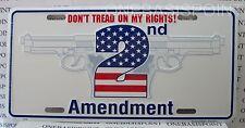 2nd Amendment License Plate Gun Rights Aluminum Embossed Sign Car Tag Auto USA