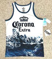 new CORONA EXTRA BEER TANK TOP white blue water splash big logo beach shirt mens