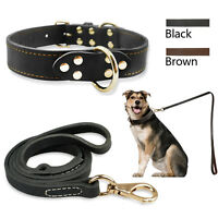Luxury Leather Dog Collars and Leads Heavy Duty for Dogs Training Control S M L