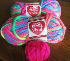 New listing 2 Red Heart Yarn Vivid In Neon Mix! Free Little Ball! Discontinued Yarn