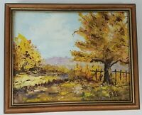 """Framed Fall Landscape Oil Painting Picture Signed A.D.G. Vintage  11"""" x 9"""""""