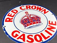 "VINTAGE RED CROWN GASOLINE ADVERTISING 12"" PORCELAIN GAS & OIL PUMP PLATE SIGN"