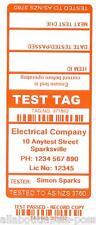 350 CUSTOM ORANGE Printed Electrical Adhesive Test Tag Labels