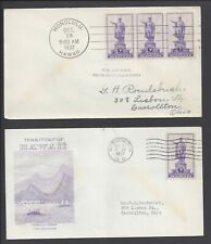 Lot of (2) US First Day Covers FDC - #799 - 3¢ Hawaii - OCT 18 1937 - Block of 3