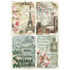 Stamperia Decoupage Vintage Postcards Rice Paper A4 - Dfsa4225