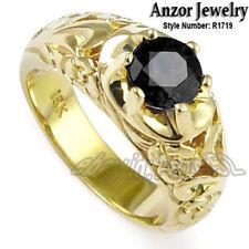 Diamond Hand Engraved Byzantine-Style Ring Men's 18k Yellow Gold Black