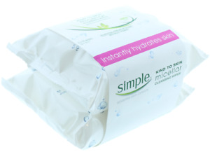SIMPLE FACIAL CLEANSING WIPES MICELLAR KIND TO SKIN 2 PACK BRAND NEW