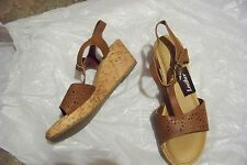 womens thom mcan brown leather t-strap wedge heels shoes size 9
