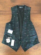 40R Polo Ralph Lauren Green Tartan Plaid Silk Satin Tuxedo Vest Italy Corneliani