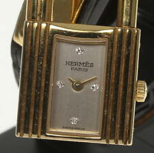 HERMES KELLY WATCH 18K Solid Gold 4P Diamond Leather  strap Ladies Watch_358186