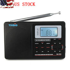 New!Tivdio Mw/ Fm/ Sw Stereo Dsp Radio Clock Alarm Full Band World Receiver