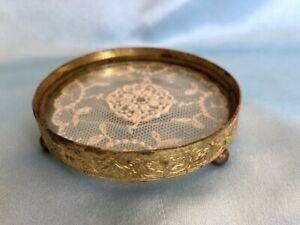 Small Vintage Footed Ormolu Vanity Dresser Tray, Glass with White Lace Inlay