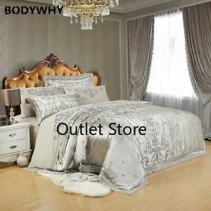 Luxury Embroidery Silk Satin Duvet Cover Bedding Set Queen King Size Bed Sheet