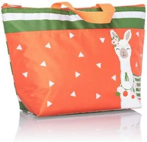 Thirty One Thermal Tote Green Cabana Stripe LLAMA Lunch Work Travel New Print
