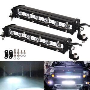 2x 7inch 18W Ultra Slim LED Light Bar Work Offroad Driving SPOT Fog For SUV ATV