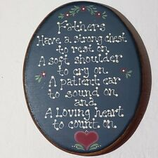 Fathers Wood Picture Plaque Chris Collins Folk Art Painting Wall Hanging Heart