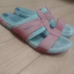 Merrell select fresh coral suede slides 2 straps. Size 8