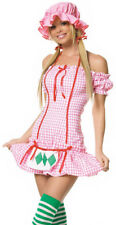 Country Strawberry Girl Halloween Costume sz L NEW Leg Avenue Womens Pink Dress