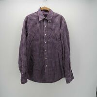 Ralph Lauren Blue Red Long Sleeve Button Front Slim Fit Stretch Shirt Mens Large