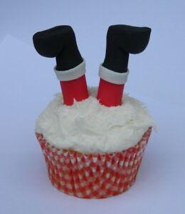 12 edible CHRISTMAS 3D SANTA LEGS novelty cupcake cake topper decoration CUTE