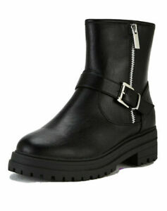 V by Very Farah Black Faux Leather Wide Fit Biker Buckle Ankle Boot Size 8 42 BN