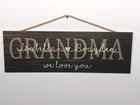 """Personalized Grandma Rustic Wood Sign, Mothers Day, P140, Gift, Birthday, 6""""x18"""""""