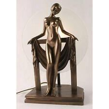 ART DECO/NOUVEAU TABLE LAMP 33CM NUDE LADY FIGURINE BRONZE POLYSTONE GLASS SHADE