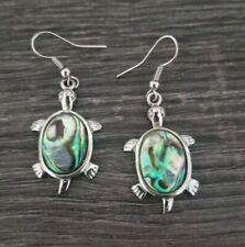 Abalone Shell Turtle Tortoise 925 Sterling Silver Dangle Earrings