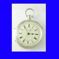 Splendido Liverpool Argento FUSEE centro sec con Cronografo Orologio da taschino 1894