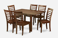 7-PC SET RECTANGULAR DINETTE KITCHEN TABLE WITH 6 WOOD SEAT CHAIRS IN MAHOGANY