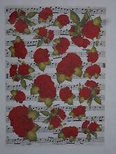 papier découpage technique serviette (thème:rose rouge et note musique) 68X48cm