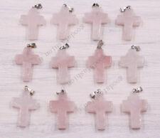 Fashion Natural Rose Quartz Stone Cross Silver P Beads Pendants 100pcs Wholesale
