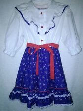 Vintage Piccolino 1970 Girl's Red White Blue Long Sleeve Floral Prairie Dress 6X