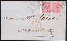 1859 4d Rose SG 66 Pair Fine Used Malta to Marseille