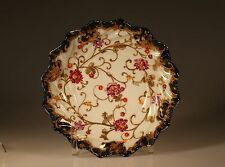Nippon Handpainted Fluted Swirl Floral and Gold Gilt Bowl, Made In Japan