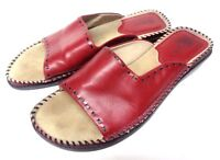 Bass Red leather Women's Mules Slip On Shoes 7 M