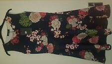Misslook Navy Size 12, Stretchy Floral Skater Dress. New with Tags