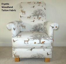 Fryetts Tatton Woodland Fabric Chair Deer Foxes Animals Beige Nursery Armchair
