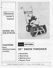 "Sears Murray 20"" snow thrower blower model 536.918100 owner's manual ca 1980s wi"