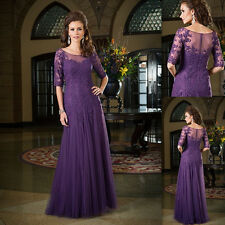 Purple Mother Of The Bride Dresses Tulle Appliqued Lace 2017 Sleeve Evening Gonw