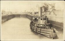 Panama Canal? Tugboat in Lock c1915 Real Photo Postcard