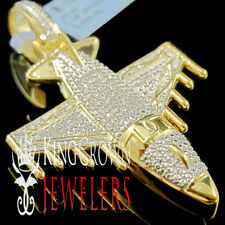 Mens Real Genuine Diamond Airplane Jet Pendant Charm 10K Yellow Gold Finish 2''