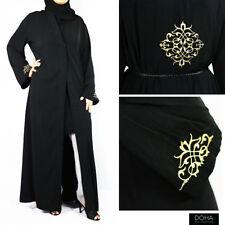 Floral Design Open Abaya Jilbab Long Dress Black Gold 54 Inch Yes