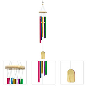Wind Chimes Outdoor with 6 Colorful Aluminum Tubes Wooden Wind Bell Memorial Wi~