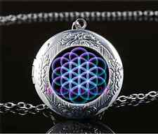 Flower Of Life Photo Cabochon Glass Tibet Silver Locket Pendant Necklace
