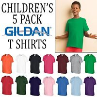 5 Pack Gildan Heavy T Shirt Boys Girls Plain Trade Top Wholesale All Sizes Tee