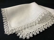 #6387🌟Vintage BrilliantWhite Fancy Tatted Lace Irish Linen Wedding Handkerchief